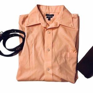 Men's Long sleeve Dress Shirt Peach 16 32/33 M